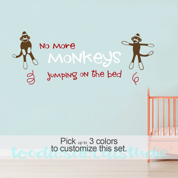 no more sock monkeys jumping on the bed wall art quote for. Black Bedroom Furniture Sets. Home Design Ideas