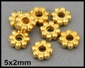 25 GOLD 5mm Daisy Spacer Beads - 5x2mm Round Metal Daisy Snowflake Bead Spacers - DIY Usa Discount jewelry - Instant Ship - 6919