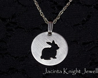 Sterling silver rabbit pendant - 14mm, 16mm, 19mm or 22mm