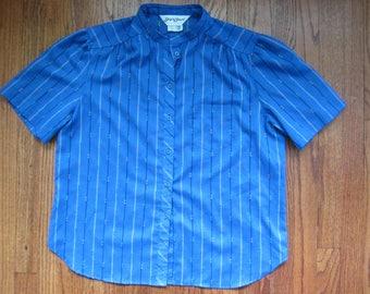 60s Vintage Ship 'n Shore Striped Blue Short Sleeve Button Down Shirt