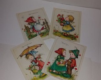 4 vintage greeting cards unused lot boys girls children old paper supplies ephemera Ii