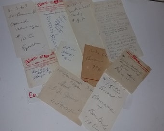 9 pages pieces old writing handwritten items notes 1970's  market Vintage paper supplies ephemera lot e