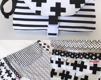 Black and White, Changing Pad, Diaper Clutch