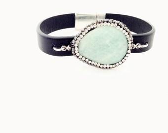 Amazonite Leather Bracelet. Choose Bracelet Color. Magnetic Clasp Premium Leather Bracelet.