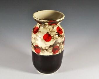 Wheel Thrown Pottery Vase, Flower Vase, Red Polka Dot Vase