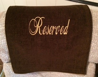 Recliner Cover, Chair Headrest, Furniture Protector, Reserved, Upholstery, Embroidered, Brownie Br, 14x30, Gold Thread