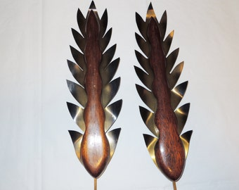 Mid Century Solid Teak Cattails Wall Art Danish Décor