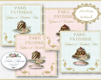 VINTAGE FRENCH PASTRY -  Paris Patisserie - Shabby Chic - Digital Coasters - Printable