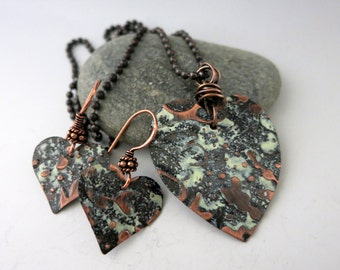 Embossed Copper Heart Pendant & Earring Set, Cookies n Cream Patina, Last Minute Gift, Ready to Ship