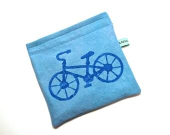 Reusable Snack Bag - Reusable Sandwich Bag - Hand Printed Bicycle