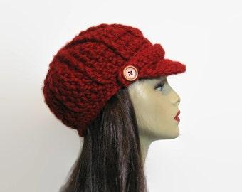 Red Newsboy Hat Crochet  Dark Red news boy Hat with brim Dark Red Hat with Visor Hat Knit Maroon newsboy cap Red newsboy hat newsboy red hat
