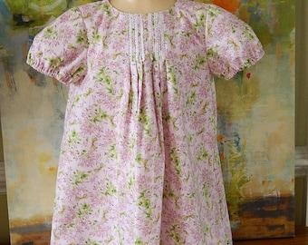 Girls' Purple Dress - Spring and Summer Dress - Size 4 to 5 Dress - Light Purple Floral Print - Handmade Children's Wear - Casual Summer Top