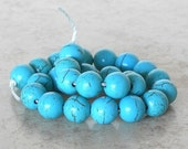 HOLIDAY SALE 20% OFF 8mm Round Turquoise (Dyed) Howlite Excellent Quality Semi Precious Gemstone Beads Blue Green Stone Beads (Th8-60414) -