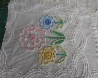 3 Sets of PINK, Blue and Yellow Needletuft Posy Flowers with Soft White POPS and Scroll Designs Vintage Chenille Bedspread Fabric - #5