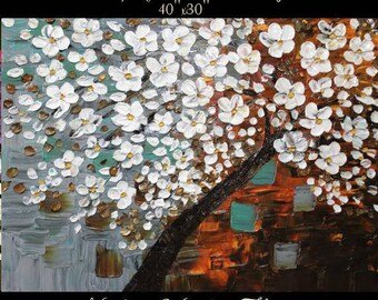 """40"""" Oil Landscape painting Abstract Original Modern palette knife Weeping  Cherry Tree oil impasto painting by Nicolette Vaughan Horner"""