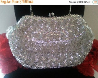 Now On Sale High End Vintage Beaded 1960's Clutch Handbag Collectible Purse Hand Made in Hong Kong, Old Hollywood Glamour