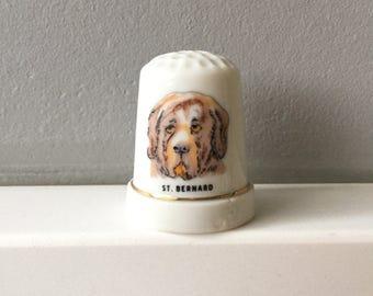 St  Bernard Thimble Sewing Thimble Porcelain Bone China Thimble Collection Gift for Dog Lover St  Bernard Dog Figurine Ceramic Thimble