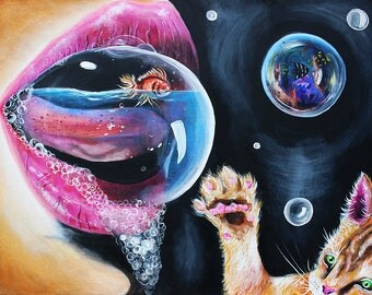 Kitty art, painting, cat, kitten, goldfish, home decor, surreal, conceptual, dali, unusual, bubbles, wall art, gift for her, lips, tattoo