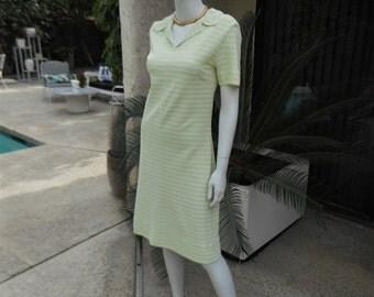 Vintage 1960's Green & White Striped Dress - Size 8