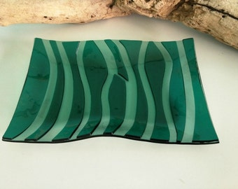 Green Fused Glass Wave Platter