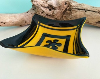 Yellow and Black Glass Square Dish