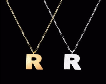 tiny R necklace, custom tiny initial necklace with matte letter pendant charm, birthday gift, graduation gift, letter r charm