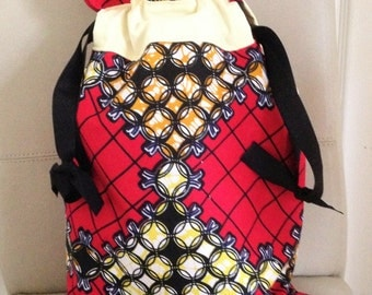African Fabric Bag, Drawstring Bag, Drawstring Pouch, Toiletry Bag, Knitting Bag, Travel Bag, Overnight Bag, Drawstring Purse, Make up bag