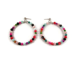 Multi-Color Shell Beaded Hoop Earrings
