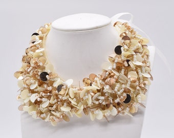 Cute Ivory Golden Sequin Buckle Bead Collar Necklace