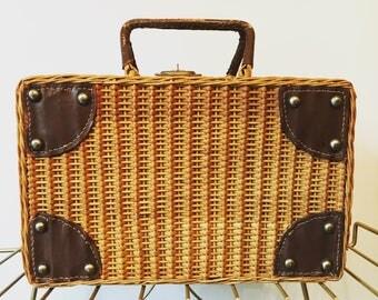 Vintage Wicker Picnic Basket - Rattan Top Handle Storage Basket - Leather and Wicker Picnic Basket
