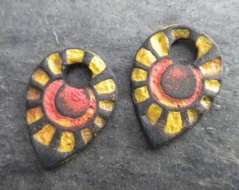 Sunburst- handmade artisan rustic ceramic sun earring bead pair