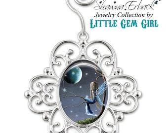 Moon Fairy Christmas Tree Ornament - Blue Fairy Ornament - Full Moon Ornament - Faerie Christmas Ornament with Artwork by Shawna Erback