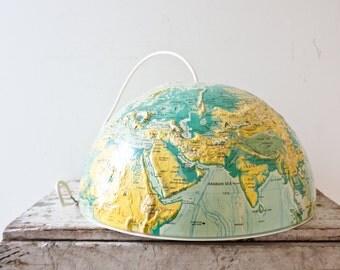 Vintage Globe Light Fixture - Globe Lamp Shade World Light Half World Globe Pendant Hanging Fixture Handmade