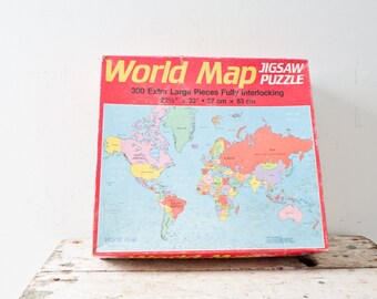 Vintage World Map Puzzle Jigsaw Puzzle 300 Extra Large Pieces