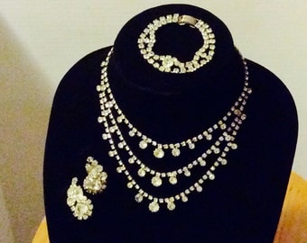 Vintage Rhinestone Necklace, Bracelet, Earrings