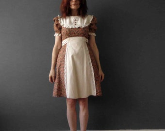 70s Boho Dirndl Folk Dress Calico Bib Brown Floral Small
