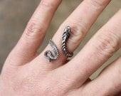 Snake RING / Vintage Sterling Serpent Jewelry / Silver Adjustable Snake Ring
