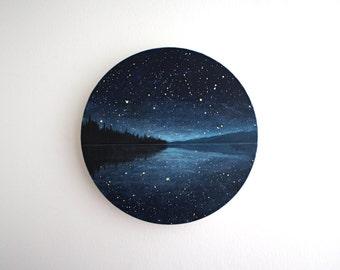 Night Sky Lake Circle Painting