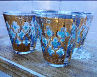 Culver Glasses Seville Pattern Set of 4 Turquoise Diamond 22K Gold Double Old Fashioned Barware