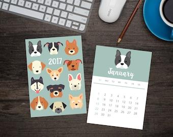 2017 Dog calendar // Printable PDF // Dog Breeds Desk Calendar //  5x7