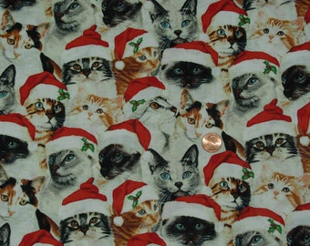 Santa Christmas Cats Cotton Fabric            2 1/2 yards