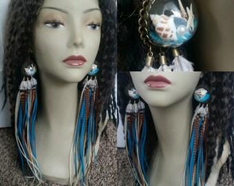 Ocean breeze long feather earrings