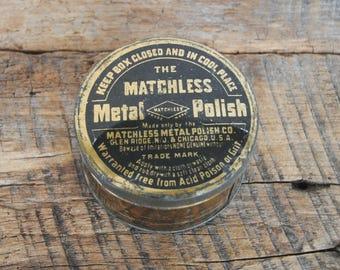 Vintage The Matchless Metal Polish Tin with Polish