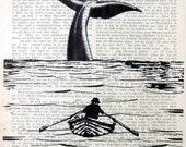 MOBY-DICK art print poster illustration whale ocean giclee print nature art phishing vintage art whale