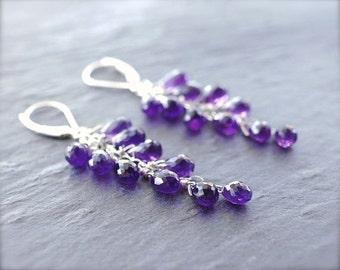 Amethyst cluster earrings. White gold amethyst briolette earrings. 14K solid gold  purple faceted amethyst cascade earrings - MADE TO ORDER.