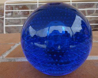 vintage art glass murano venetian paperweight blue Bullicante controlled bubble blue cobalt