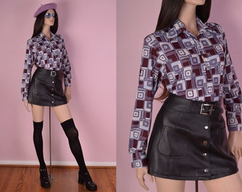 70s Psychedelic Print Long Sleeve Top/ Large/ 1970s
