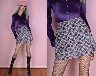 90s Does 60s Graphic Floral Print Mini Skirt/ Medium/ 1990s