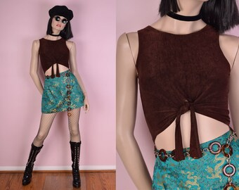90s Stone Wash Brown Tie Up Cropped Top/ Medium/ 1990s/ Tank Top
