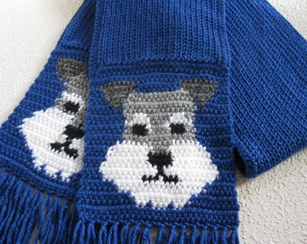 Miniature Schnauzer Scarf. Royal blue knitted scarf with Schnauzer dog faces. Knit dog scarf.